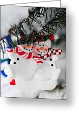 Snowmen Christmas Ornament Greeting Card by Elena Elisseeva