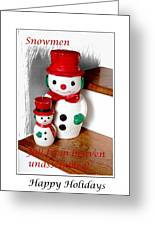 Snowmen - Greetings - Happy Holidays Greeting Card by Barbara Griffin