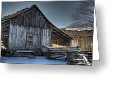 Snowy Barn Greeting Card by Jane Linders