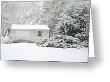 Snowy Barn Greeting Card by Mary Timman