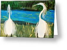 Snowy Egrets At The Pond Greeting Card by Marie Bulger