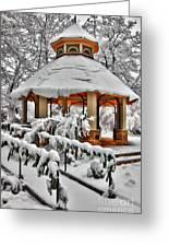 Snowy Gazebo - Greensboro North Carolina I Greeting Card by Dan Carmichael