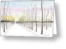 Snowy Lane Greeting Card by Arlene Crafton
