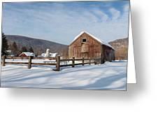 Snowy New England Barns Greeting Card by Bill Wakeley