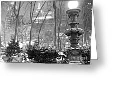 Snowy Night In Bryant Park II Greeting Card by Miriam Cintron