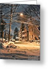 snowy night in Northampton Greeting Card by HD Connelly