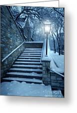 Snowy Stairway Greeting Card by Jill Battaglia