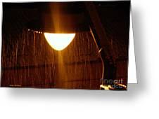 Snowy Street Lamp Greeting Card by Ramona Matei