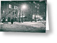 Snowy Winter Night - Sutton Place - New York City Greeting Card by Vivienne Gucwa