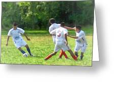 Soccer Ball In Play Greeting Card by Susan Savad