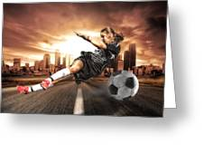 Soccer Girl Greeting Card by Erik Brede