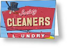 Society Cleaners Greeting Card by Charlette Miller