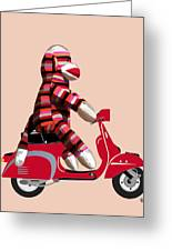 Sock Monkey And Moped Greeting Card by Kelly McLaughlan