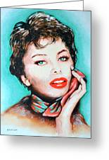Sofia Loren Greeting Card by Victor Minca