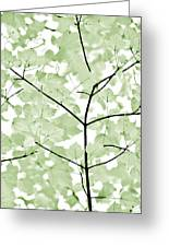 Soft Forest Green Leaves Melody Greeting Card by Jennie Marie Schell