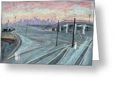 Soft Sunset Over San Francisco And Oakland Train Tracks Greeting Card by Asha Carolyn Young