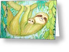 Soggy Mossy Sloth Greeting Card by Nick Gustafson