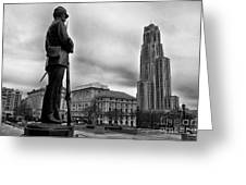 Soldiers Memorial And Cathedral Of Learning Greeting Card by Thomas R Fletcher