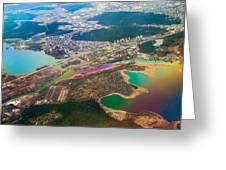 Somewhere Over Latvia. Rainbow Earth Greeting Card by Jenny Rainbow