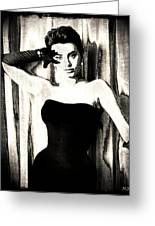 Sophia Loren - Black And White Greeting Card by Absinthe Art By Michelle LeAnn Scott