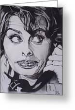 Sophia Loren Telephones Greeting Card by Sean Connolly