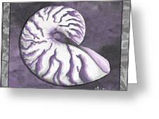 Sophisticated Coastal Art Original Sea Shell Purple Painting Royal Nautilus By Madart Greeting Card by Megan Duncanson