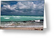 South Beach Storm Clouds Greeting Card by John Rizzuto