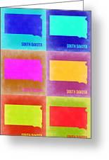 South Dakota Pop Art Map 2 Greeting Card by Naxart Studio
