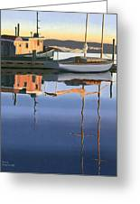 South Harbour Reflections Greeting Card by Gary Giacomelli