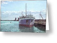 Southampton Docks Ss Shieldhall Ship Greeting Card by Martin Davey