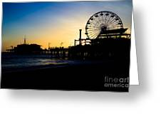 Southern California Santa Monica Pier Sunset Greeting Card by Paul Velgos