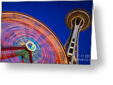 Space Needle And Wheel Greeting Card by Inge Johnsson