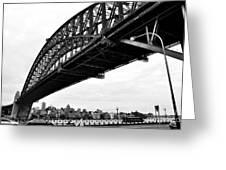Spanning Sydney Harbour - Black And White Greeting Card by Kaye Menner