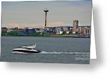 Speedboat In Foreground Of Seattle Wshington Skyline Greeting Card by Valerie Garner