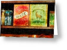 Spices on Shelf Greeting Card by Susan Savad