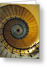 Spiral Staircase In Lighthouse France Greeting Card by David Davies