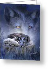 Spirit Of The Blue Fox Greeting Card by Carol Cavalaris