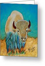 Spirit White Buffalo Greeting Card by Mike Holder