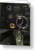 Spitfire Cockpit Greeting Card by Adam Romanowicz