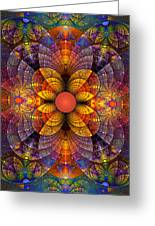 Split Crops Fractal Greeting Card by Peggi Wolfe
