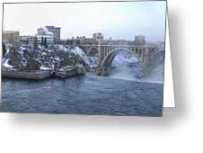Spokane City Skyline On A Frigid Morning Greeting Card by Daniel Hagerman