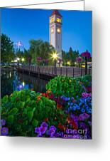 Spokane Clocktower By Night Greeting Card by Inge Johnsson