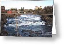 Spokane Falls In Winter Greeting Card by Carol Groenen