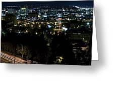 Spokane Washington Skyline At Night Greeting Card by Daniel Hagerman
