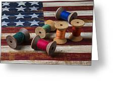 Spools Of Thread On Folk Art Flag Greeting Card by Garry Gay
