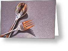 Spoon And Fork 1 Greeting Card by Elena Kolotusha