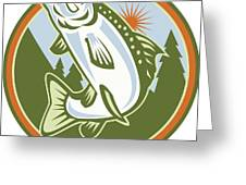 Spotted Speckled Trout Fish Jumping Greeting Card by Aloysius Patrimonio