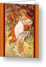 Spring Greeting Card by Alphonse Maria Mucha