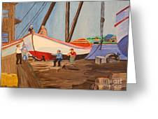 Spring At The Harbor - Tysver's Wharf 1935 Greeting Card by Bill Hubbard