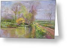 Spring Bridge Greeting Card by Timothy  Easton